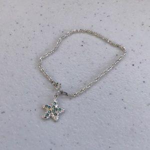 Sterling Silver Blue Gem Starfish Bracelet